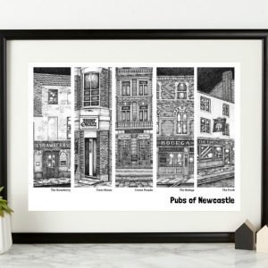 A print from local Newcastle artist Low Moon over High town, from an original pen and ink drawing. The print shows a selection of popular traditional pubs in Newcastle.