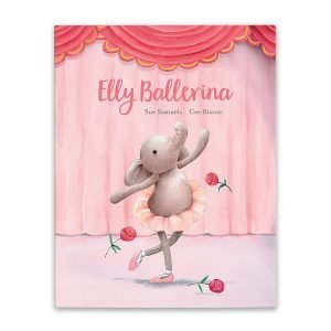 A fabulous Jellycat book called Elly Ballerina. A bright pink cover with an elephant wearing a tutu and curtseying on stage.