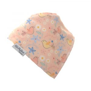 A cotton absorbent dribble bib with a pastel coloured birds design. Part of the pastel boutique bib set