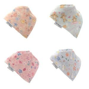 A set of 4 kids dribble bibs each with a different pastel coloured design featuring teddy bears, bunnies, ladybirds, butterflies and birds