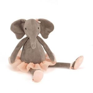 Dancing Darcey Elephant is a charcoal, silky smooth elephant with huge, floppy ears and a chunky trunk. She has extra long legs for dancing and wears a peachy tutu and matching ballerina slippers.