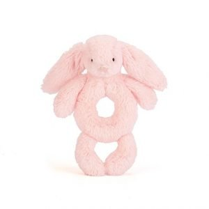 A baby pink bunny grabber complete with floppy ears, dangling arms and legs, and a cute pink nose.