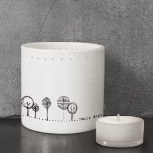 A lovely white porcelain Happy Days Tealight Holder from East if India.