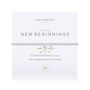 A Joma bracelet from the A Little range. An elasticated silver plated bracelet with a cubic zirconia gem. The bracelet is presented on a card with the sentiment This little bracelet reminds us to see that new beginnings are full of possibility
