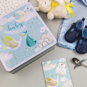 A gorgeous blue baby boy keepsake tin, complete with stork carrying a baby on the lid.