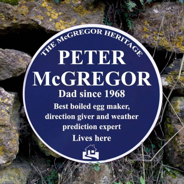 A personalised heritage blue plaque for inside or outside your home
