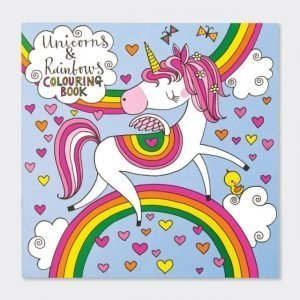 A colouring book with 12 pages of unicorns to colour in