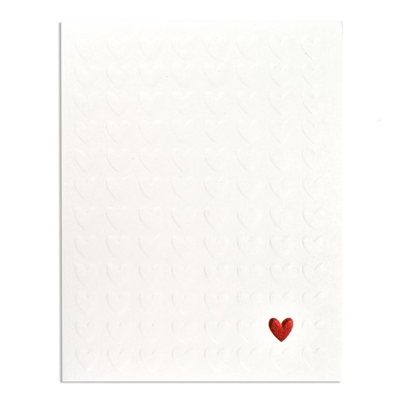 a white card with embossed hearts all over it and one red heart at the bottom of the card. Can be given as an anniversary, wedding, engagement or just a card for someone you love.