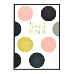 Thank you card with gold foiled thank you and big gold, navy blue and pink dots