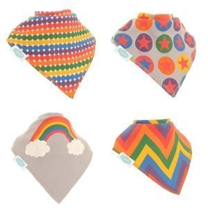 A set of four rainbow patterned dribble bibs. Each bib has a different pattern in bright rainbow colours