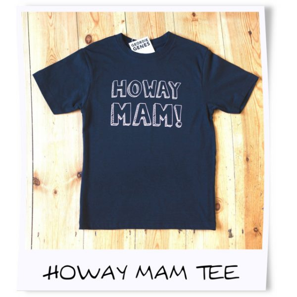 a black cotton t-shirt printed with howay mam. geordie t-shirt age 2 years