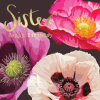 Beautiful sister birthday card featuring bright colourful watercolour illustrations of poppies and Sister happy birthday in gold foil