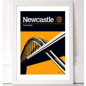 A print which looks like a book cover for a Newcastle guide book. With a mustard coloured background and a black and white graphic image of the Tyne Bridge. There is a black strip at the top of the print for the title Newcastle Tyne Bridge.