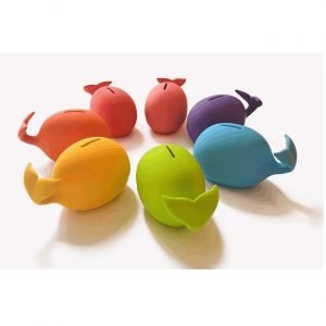 Ceramic whale money box in a choice of 7 colours. Pink, purple, blue, green, yellow, red and orange. Tactile rubber finish and rubber stopper to remove money.