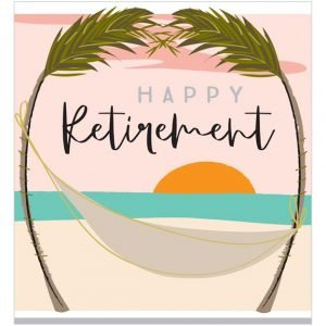 A square card with an image of a beach, two palm trees and a hammock with a lovely sunset and the words Happy Retirement printed on it.