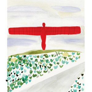 An illustrated print of the Angel of the North