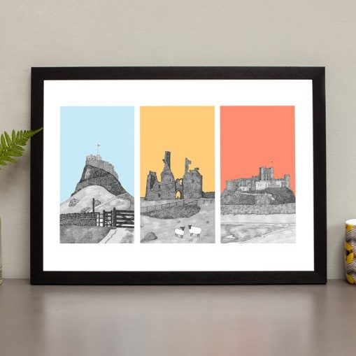 A print by North East artist Ben Holland, of Lindisfarne, Bamburgh and Dunstanburgh castles. The images are pen and ink drawings with different coloured backgrounds.