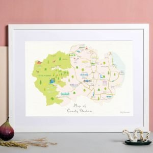 An illustrated map of County Durham A3 print featuring landmarks and areas throughout the county