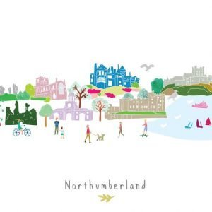 An illustrated print of the landmarks of Northumberland