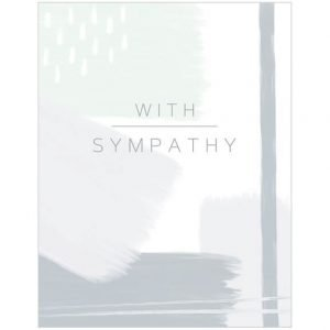 A sympathy card with an abstract design in greys with embossing and foil details