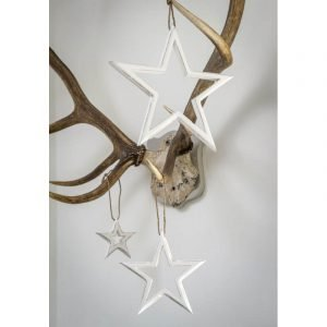 White washed natural wood cut out hanging stars in three sizes, large 25cm Medium 20cm and small 15cm