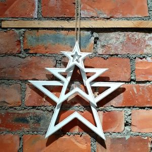 White wooden cut out stars. A distressed finish and three sizes available to buy individually