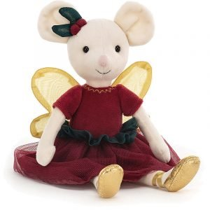 A beautiful cuddly mouse from Jellycat. Dressed in a burgundy dress and gold ballet pumps she even has a burgundy berries by her ear and gold organzawings