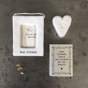 A little white ceramic heart with a little paw print in it, kept in a cardboard matchbox with the words 'Best friends leave paw prints on our hearts' printed on it.