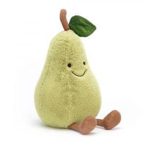 A pear cuddly toy from the Jellycat Amuseable range.