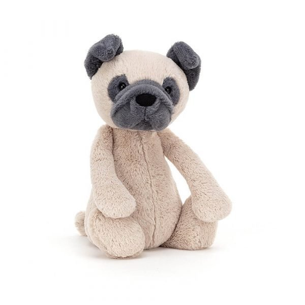 A gorgeous beige and pebble grey pug cuddly toy