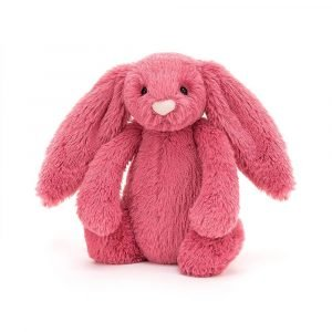 A cherry pink bunny soft toy