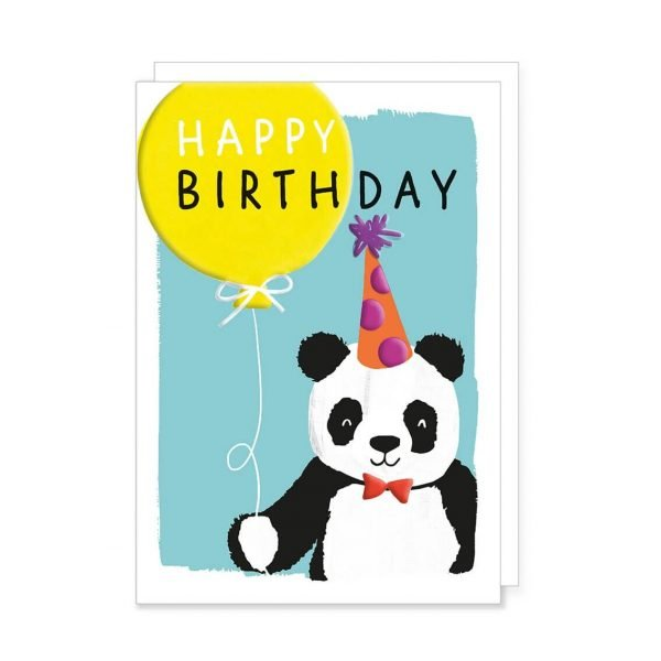 A colourful card with a cute panda wearing a red bow tie and a party hat on a blue background holding a bright yellow balloon and the words happy birthday