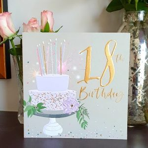 A large luxury 18th birthday card with a cake and candles, embellished with clear crystal gem stones and gold foiled lettering that reads 18th Birthday