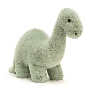 A mint green cute brontosaurus cuddly toy