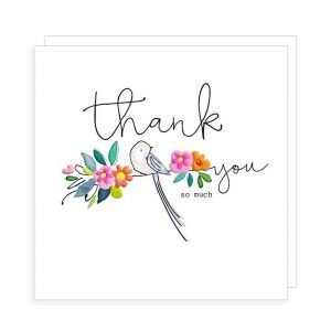 A thank you card with a bird sitting on a branch of colourful flowers and the words Thank You So Much