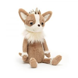 A little chihuahua dog cuddly toy with a golden crown and big doggy eyes. A lovely gift for a little girl