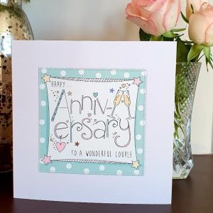 Happy Anniversary to a wonderful couple wedding anniversary card hand finished with stitching and silver stars