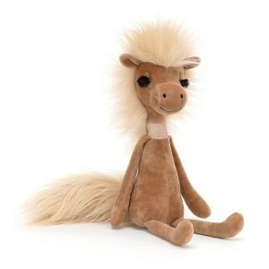 An elegant, gorgeous horse, a sassy diva with baby pink mane and bushy tail and chestnut brown fur.