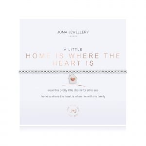 An elasticated bracelet from Joma with round silver plated brass beads and a silver plated house shaped pendant with a little rose gold heart from Joma. Presented on a white card printed with A little Home is Where The Heart Is - wear this pretty little charm for all to see home is where the heart is when I'm with my family