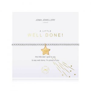An elasticated bracelet from Joma with round silver plated brass beads and a rose gold star pendant stamped with well done from Joma. Presented on a white card printed with A little Well Done - this little star I give to you, to say well done. I'm proud of you