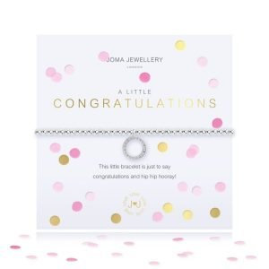 A lovely silver plated stretch bracelet with a gorgeous circle embellished charm on it. The bracelet comes on a card with a colourful confetti design and the words A Little Congratulations printed on it. From Joma Jewellery's A Little range.
