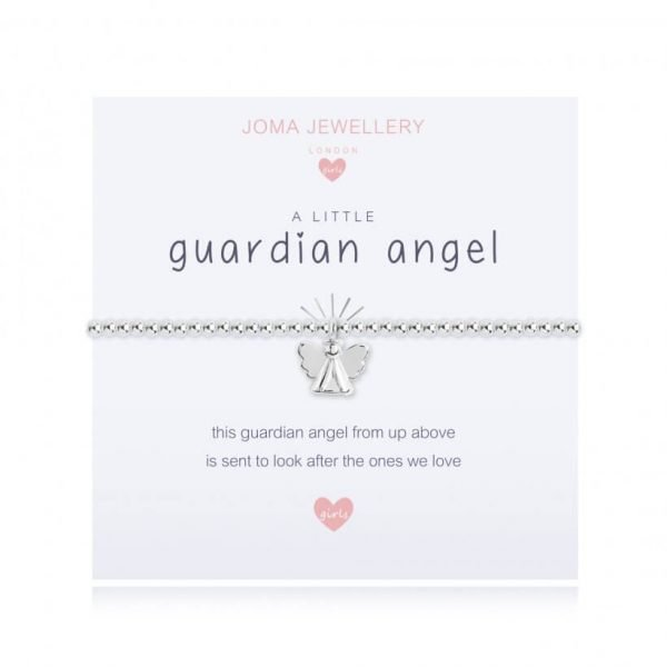A children's elasticated silver plated beaded bracelet on a white card from Joma jewellery. The bracelet has a silver guardian angel charm and the card reads Guardian Angel - this guardian angel from up above is sent to look after the ones we love. Comes with a gift card for your own message and wrapped in a gift bag tied with a satin ribbon