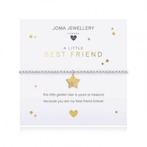 A children's elasticated silver plated beaded bracelet on a white card from Joma jewellery. The bracelet has a gold star charm set with a little crystal star and the card reads Best Friend - this little golden star is yours to treasure because you are my best friend forever. Comes with a gift card for your own message and wrapped in a gift bag tied with a satin ribbon