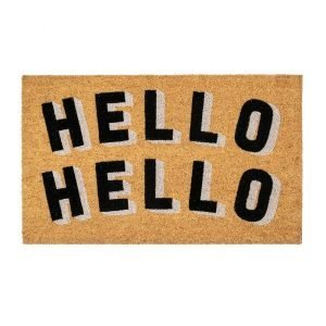 A voir doormat from Bombay Duck with the words Hello Hello printed on it in black and white