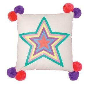 A large 40cm square cream cotton cushion with a hand embroidered multicoloured star. At each corner there is a red and purple pom pom. Removable cover and 100% polyester inner