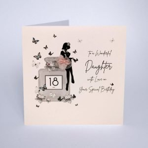 A magical luxury pink birthday card for your daughter's 18th birthday. The wording To a wonderful daughter with love on your special birthday. Illustrated with butterflies flying around a perfume bottle with a big 18 on it and a silhouette of a girl sitting on the bottle with crystals embellishing on the card.