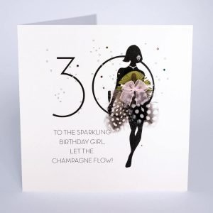 A handmade birthday card for a 30th birthday. A silhouette of a woman doing a sassy walk with a champagne glass in her hand and a dress made of real feathers. A large 30 and the words To the sparkling birthday girl, let the champagne flow.