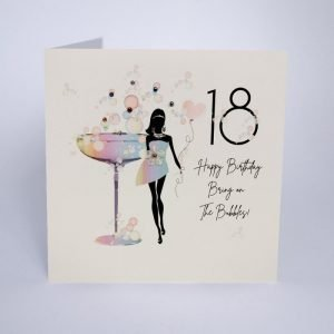 A shimmering white card with a beautiful rainbow illustration of a woman in silhouette wearing a party dress in front of a big cocktail glass. hand finished with genuine crystals. 18 Happy Birthday Bring on the Bubbles