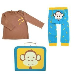 A brown long sleeved t shirt with banana motif and a pair of bright blue leggings with a monkeys face on the bottom and yellow bananas pattern. Both in a yellow and bright blue suitcase with a monkeys face on the front
