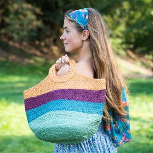 Striped woven jute bag in mint green,aqua blue,magenta and orange with round handles